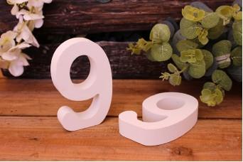 """Αριθμός Ξύλινος """"9"""" Λευκός"""