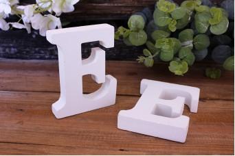 """Γράμμα Ξύλινο """"E"""" Λευκό"""