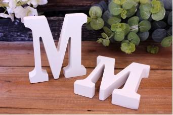 """Γράμμα Ξύλινο """"M"""" Λευκό"""