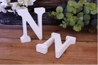 """Γράμμα Ξύλινο """"N"""" Λευκό"""
