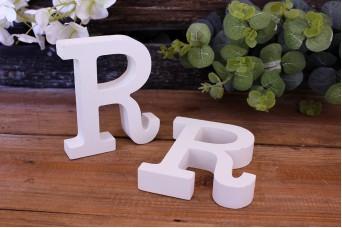"""Γράμμα Ξύλινο """"R"""" Λευκό"""