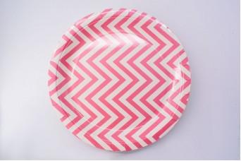 Πιάτα Χάρτινα Chevron Ροζ 8τεμ. PI125438P