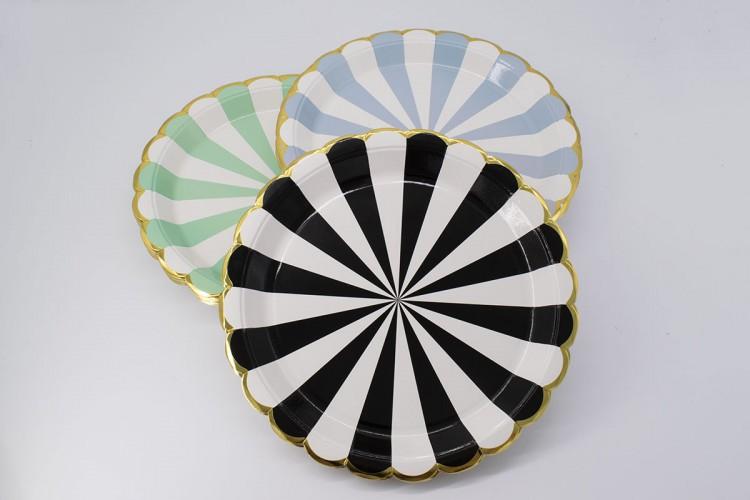 Πιάτα Χάρτινα Χρυσό Τελείωμα Μαύρα 10τεμ. PI2737-4