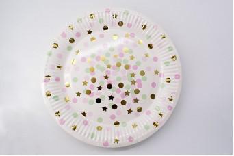 Πιάτα Χάρτινα Confetti-Αστεράκια Ροζ 10τεμ. PI2738-2
