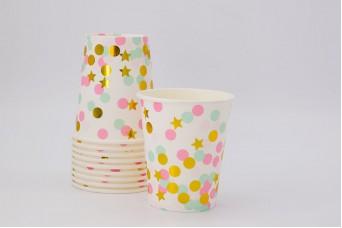 Ποτηράκια Χάρτινα Confetti-Αστεράκια Ροζ 10τεμ. PI2739-2