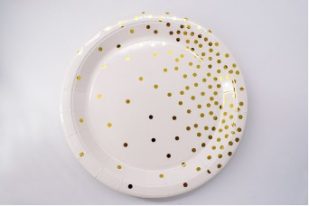 Πιάτα Χάρτινα Χρυσό Confetti Κρεμ 10τεμ. PI2743-1