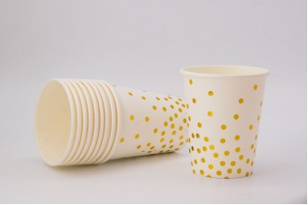 Ποτηράκια Χρυσό Confetti Κρεμ 10τεμ. PI2743C-1